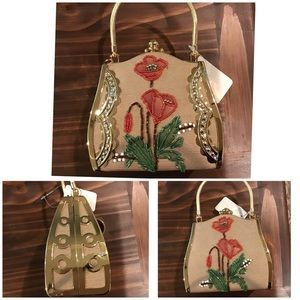 Handbags - Vintage Hand beaded on canvas accented in gold bag